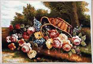 تابلو فرش گل و گلدان ،شرکت فرش گل نرگس کاشان